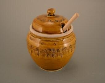 Beez knees - handmade porcelain honey jar, with dipping spoon - salt cellar - jam jar - jelly jar - amber celadon