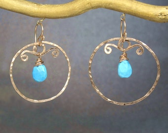 Hammered circles with blue turquoise Nouveau 192