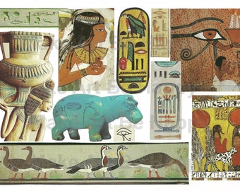Digital collage sheet,nr. TH29, Egyptian style,  scrapbooking, art journaling, direct download