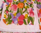 Vintage Bath and Hand Towel, Cannon Royal Family, All Cotton Thick & Thirsty, Displayed Only, Never Used, Pink w/ Iris Tulips Crocus Flowers