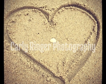 Heart in the Sand Tile Coaster