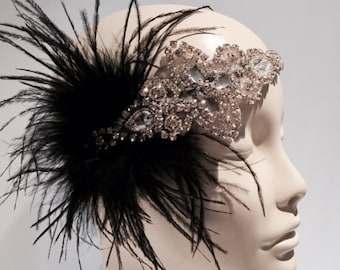 Flapper Headpiece- Black 20s Head Wrap- Gatsby Style- Flapper- 1920s Hair Accessory- Gatsby Headpiece- Prohibtion Party- Speakeasy- Prom