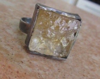 Druzy Citrine ring -  Silver Square Ring - Natural stone ring - size 11 1/5