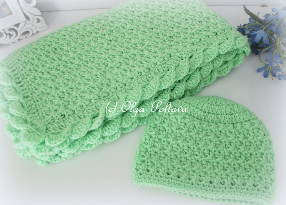 Crochet Baby Blanket And Hat Star Stitch Crochet Baby Set