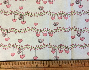 Heart Flowers - Cotton Fabric Destash Sale - Novelty Fabric 42 x 10 inches