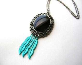 Southwestern Necklace - Feather Necklace - Bohemian Necklace - Handmade Necklace