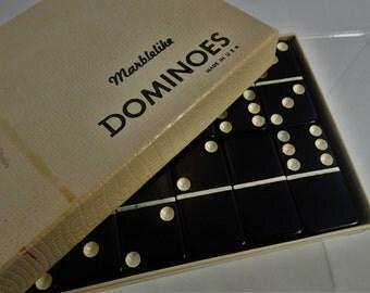 Black Marblelike Dominoes Made in USA Standard Size Complete Set in Original Box