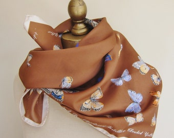 Butterfly scarf, 1970s scarf, Cornelia James square scarf, brown scarf,ladies headscarf,hair wrap