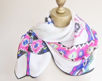 Silk scarf, vintage scarves, Sasha silk square. Sante Fe style, southwestern scarf, Aztec print scarf, 80s fashion, 1980s scarves