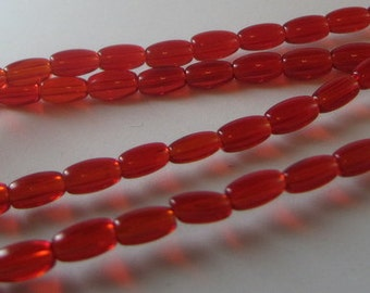 Smooth Red Rice Beads 7x4MM Glass Oval Spacer Beads Full Strand