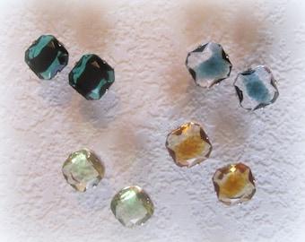 Square, Rhinestone, 19MM, Givre, Silver, OB, Setting, 4 Hole, Sew On,Slider, Emerald Jet, Peridot Jonquil, Crystal Zircon,