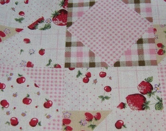 Pink Gingham Strawberry Japanese Cotton Fabric, Pink Gingham Fabric,Polka Dots Cotton Fabric