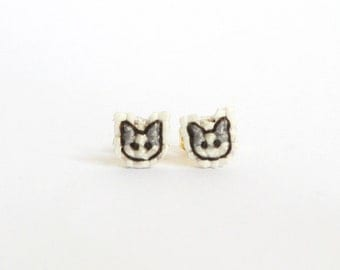 Grey cat cross stitch earrings, gifts for cat lovers
