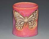 Pink ceramic tumbler cup with Butterfly texture, fun to hold cup, Valentine's day gift, housewarming gift
