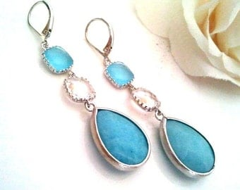 Blue Earrings, Drop, Dangle, Earrings, bridesmaid gifts,Wedding jewelry, Gemstone, Sky BLue Earrings