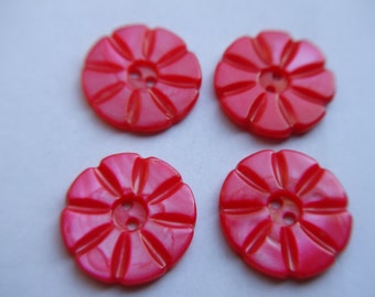 Vintage Dyed Red Mother of Pearl Flower Shaped Buttons x 4    # EEEE 7-8-9