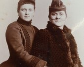 Two Women Girlfriends Sisters Antique Cabinet Card Photo