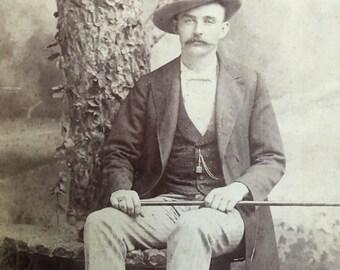 Antique Photo Handsome Man Mustache Turnbull Nevada Missouri