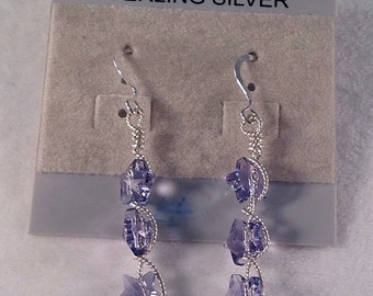 Star Earrings- Purple Earrings- Swarovski Star Crystals- Earrings- Wire Wrap- Sterling Silver Dangle