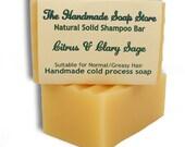 Natural Shampoo Bar | Citrus & Clary Sage: All Natural Handmade Shampoo Bar - Normal to Oily Hair - 120g/4.25oz, SLS and Palm Oil Free