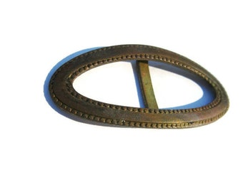 small oval vintage brass belt buckle for dress or slacks