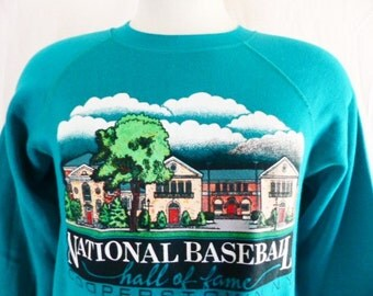 vintage 80's National Baseball Hall of Fame Cooperstown N.Y. graphic sweashirt teal green fleece travel souvenir unisex raglan crew neck Med