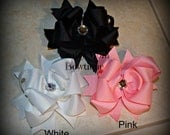 Set of 3 Solid Color Boutique Style Bows - White Bow - Black Bow - Pink Bow - Hairbow - Hair Bow - Large Bows - Solid Bows