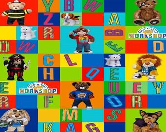 Fat Quarter Build a Bear Workshop Square Alphabet 100% Cotton Quilting Fabric