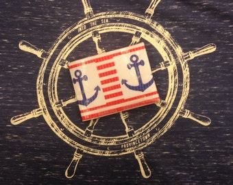 Cape Cod Anchor and stripes Duct Tape Wallet