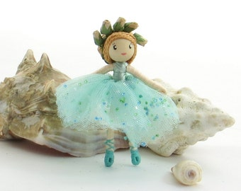Little ballerina doll, miniature bendy doll, small blue doll, poseable doll, miniature ballet doll, aqua tutu doll, blue bendy doll