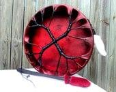 Blood Red New Moon Deerskin Drum