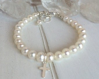 Pearl Baby Bracelet, AAA Freshwater Pearls, Baby bracelet, Baptism Bracelet, Christening bracelet, Sterling Silver Cross Charm, Baby's Pearl