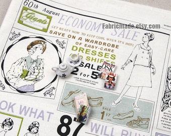 Colorful Newspaper Fabric, Linen Cotton Fabric, Economy Sale, Vintage Newspaper Cushion Bag Fabric - 4 Panel DIY Fabric