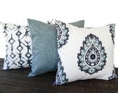 Set of three Throw Pillow covers, Pillow Covers, Cushion, Decorative Pillow, Vintage Indigo Blue White contemporary geometric modern decor