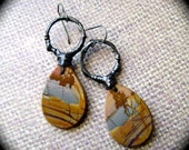 Trees at the Waters Edge, red creek jasper, assemblage earrings, asymmetrical earrings, stone earrings, soldered jewelry, anvil artifacts