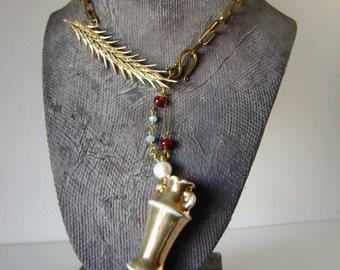 Golden Urn 2, assemblage necklace, vessel necklace, lusterware urn, lusterware, vintage urn, vase necklace, vintage brooch, AnvilArtifacts