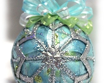 Aqua Green and Silver Glitter Quilted Handmade Christmas Ornament