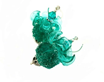 Sugar frosted lampwork earrings with perfectly matched ruffle glass bead, topped teal Swarovski crystals, Sterling silver