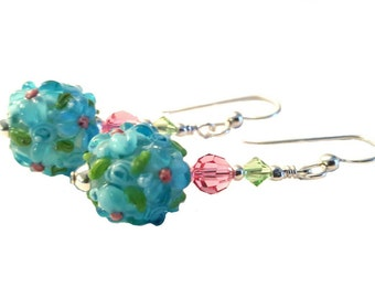Aqua blue flower lampwork bead earrings with pink center flowers, rose and olivine Swarovski Crystals, Sterling Silver