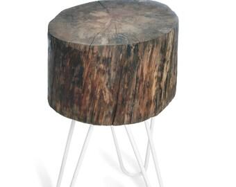 Side Table ELDGJA. Reclaimed Wood side table. Hairpin legs. Rustic furniture.
