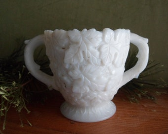 White Milk Glass Weatmorland Bramble Leaf Pattern Sugar Bowl, Marked