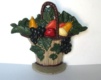 Vintage Cast iron doorstop, Hubley style, Shabby cottage decor, Basket of Fruit, Ivy, Bookend, paperweight, French Country, gift idea
