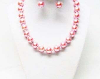 12mm Pink Rose Glass Pearl Choker Necklace & Earrings Set