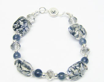 Silvery Grey Glass Lamp Work Bead Bracelet
