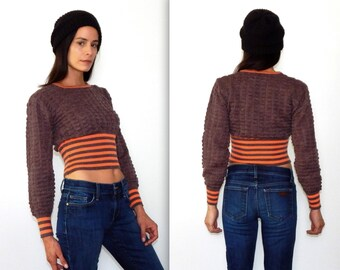 vintage 70s crop sweater brown and orange striped sweater 70s crop top princess sleeve balloon sleeve marsha brady quilted fall boho sweater