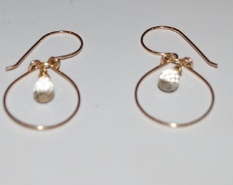 Gold Filled Hoops with Citrine
