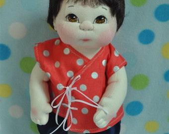 "SALE! Fretta's OOAK Little Darling Baby. 38 cm / 15"" Soft Sculpture Baby Girl, Child Friendly Cloth Doll."