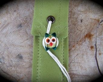 Eco-Friendly Personal Chopstick Case in Wasabi Canvas with Glass Owl Bead, Picnic, Festival & Backpacking Gear,  Travel Cutlery