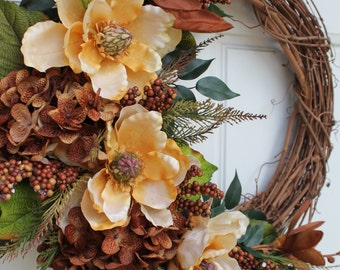 Gold Brown Magnolia Hydrangea Vintage Grapevine Wreath