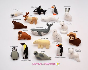 ARCTIC ANIMALS magnets Special edition -  Price per 1 item - make your own set - orca,emperor penguin,seal,walrus,whale polar bear polar fox